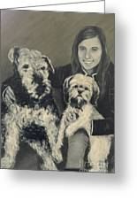 Girl With Dogs In Black And White Greeting Card