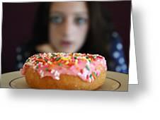 Girl With Doughnut Greeting Card