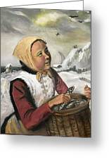 Girl With Fish Basket Greeting Card