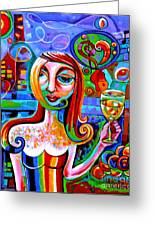 Girl With Glass Of Chardonnay Greeting Card