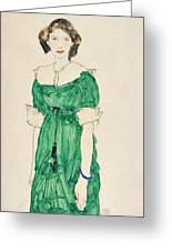 Girl With Green Dress Greeting Card