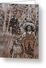 Girl With Hat And Dog Historical Vignette Greeting Card