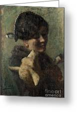 Girl With Lamb In Her Arms Greeting Card