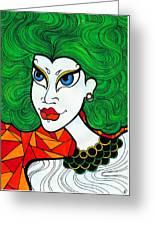 Girl With Lush Green Hair. Greeting Card