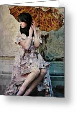 Girl With Parasol Greeting Card by Elena Nosyreva