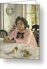 Girl With Peaches Greeting Card