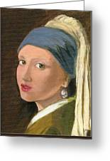 Girl With Pearl Earring Of Vermeer Greeting Card