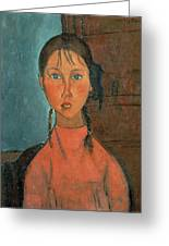 Girl With Pigtails Greeting Card by Amedeo Modigliani