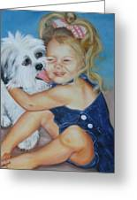 Girl With Puppy Greeting Card
