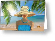 Girl With Summer Hat Greeting Card