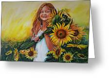 Girl With Sunflowers Greeting Card