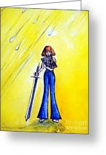 Girl With Sword. Astral Traveler Greeting Card