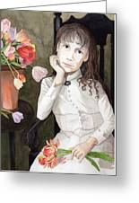 Girl With Tulips Greeting Card