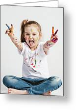 Girl With Victory Sign Sticking Out Her Tounge Greeting Card