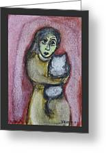 Girl With White Cat Greeting Card