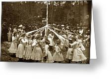 Girls  Doing The Maypole Dance Pacific Grove Circa 1890 Greeting Card