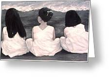 Girls In White At The Beach Greeting Card