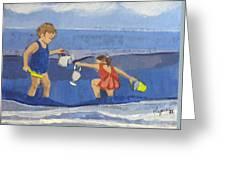 Girls On Beach Greeting Card