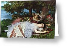 Girls On The Banks Of The Seine Greeting Card by Gustave Courbet
