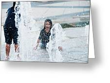 Girls Playing In Fountain  Greeting Card