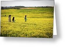 Girls Walking In The Field Greeting Card