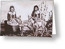 Girls With Pronghorn Fawns Historical Vignette From River Mural Greeting Card