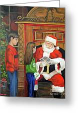 Giving The List To Santa Greeting Card