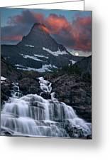 Glacier Morning Waterfall And Moonset Greeting Card