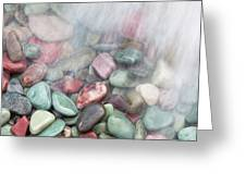 Glacier National Park Saint Mary's Lake Colored Stones Greeting Card