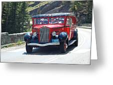 Glacier Red Bus Greeting Card