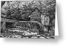 Glade Creek Grist Mill 2 Bw Greeting Card