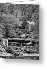 Glade Creek Grist Mill 3 Bw Greeting Card