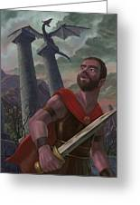 Gladiator Warrior With Monster On Pillar Greeting Card