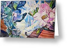 Glads On The Deck Greeting Card by June Conte  Pryor