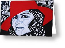 Glafira Rosales In The Red Hat Greeting Card