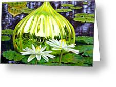 Glass Among The Lilies Greeting Card