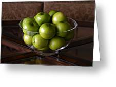Glass Bowl Of Green Apples  Greeting Card