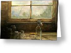Glass Jars By Window Greeting Card