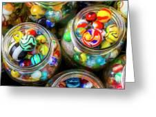Glass Marbles In Containers Greeting Card