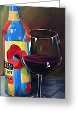 Glass Of Merlot   Greeting Card