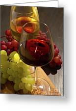 Red And White Wine Greeting Card