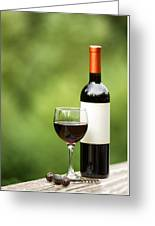 Glass Of Red Wine Outdoors Ready To Enjoy Greeting Card