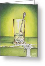 Glass With Melting Fork Greeting Card