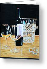 Glass Wood And Light And Wine Greeting Card