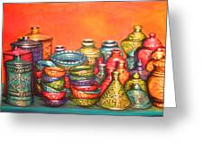 Glazed Moroccan Pots Greeting Card