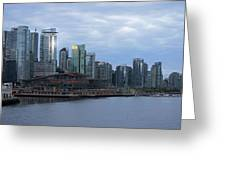 Gleaming Cityscape. Vancouver At Dawn  Greeting Card