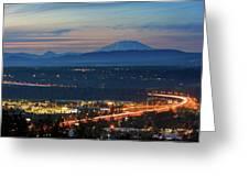 Glenn L Jackson Bridge And Mount Saint Helens After Sunset Greeting Card