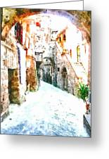 Glimpse Of Ancient Houses Greeting Card