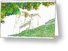 Glimpse Of The Castle Walls And Towers Greeting Card