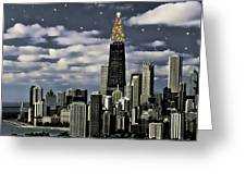 Glittering Chicago Christmas Tree Greeting Card